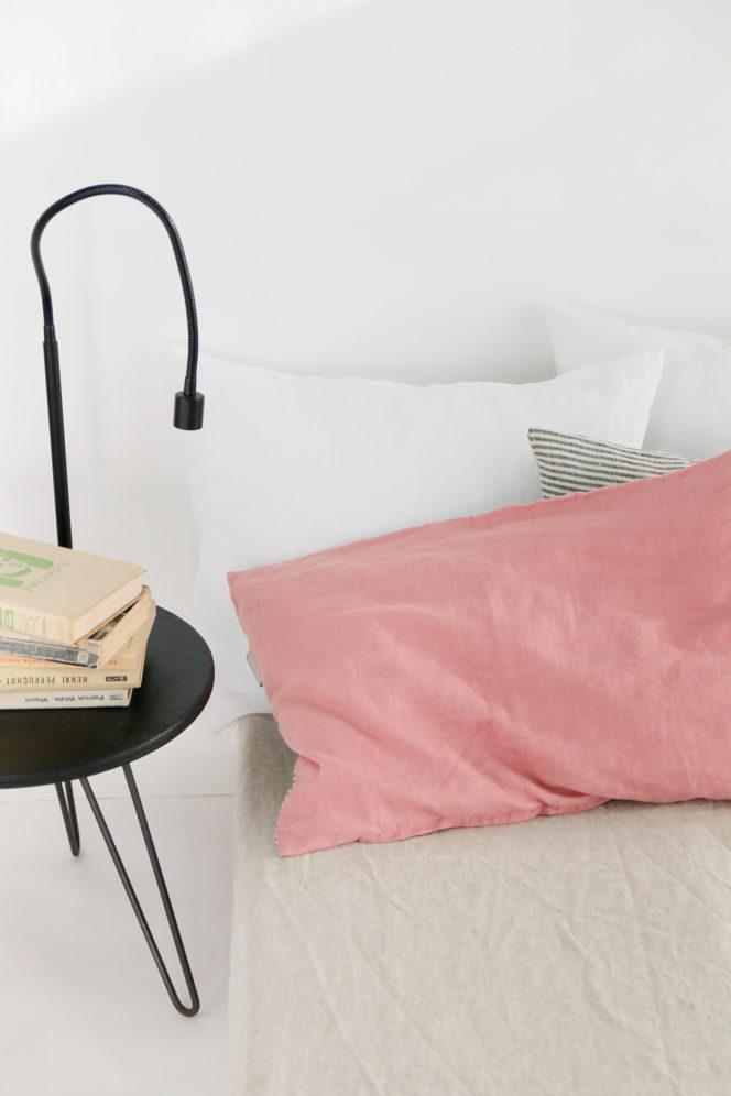 Poszewka lniana na poduszkę indyjski róż w paski