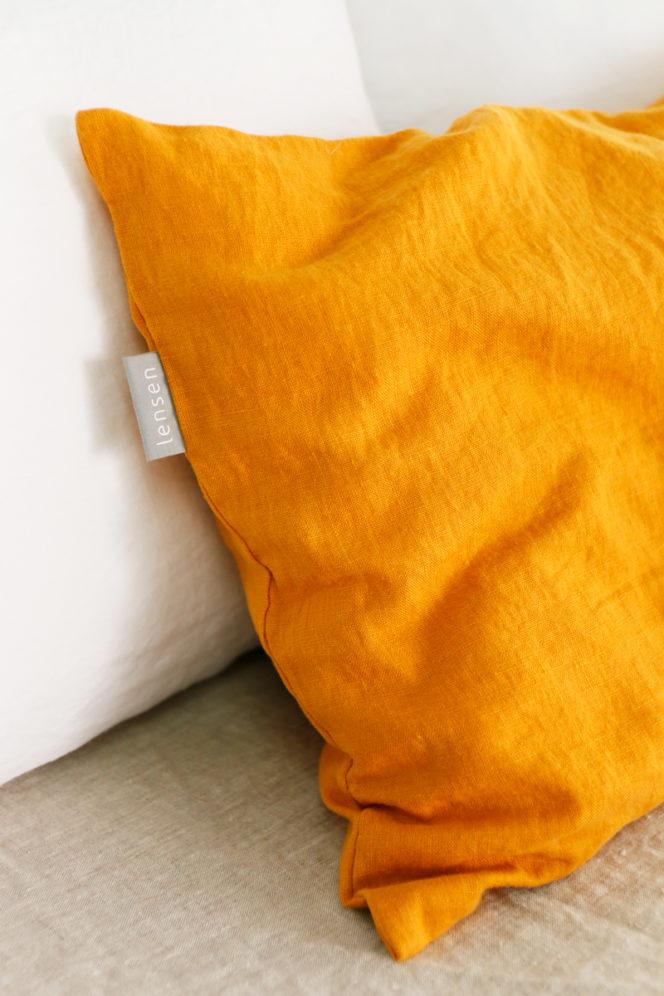 Poszewka na poduszkę kolor musztardowy