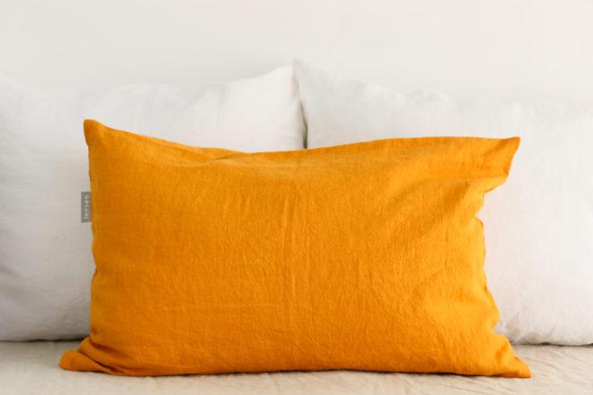 Poszewka na poduszkę musztardowa