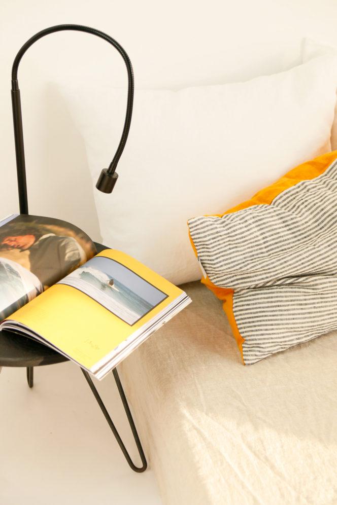Poszewka na poduszkę musztardowa w paski z lnu