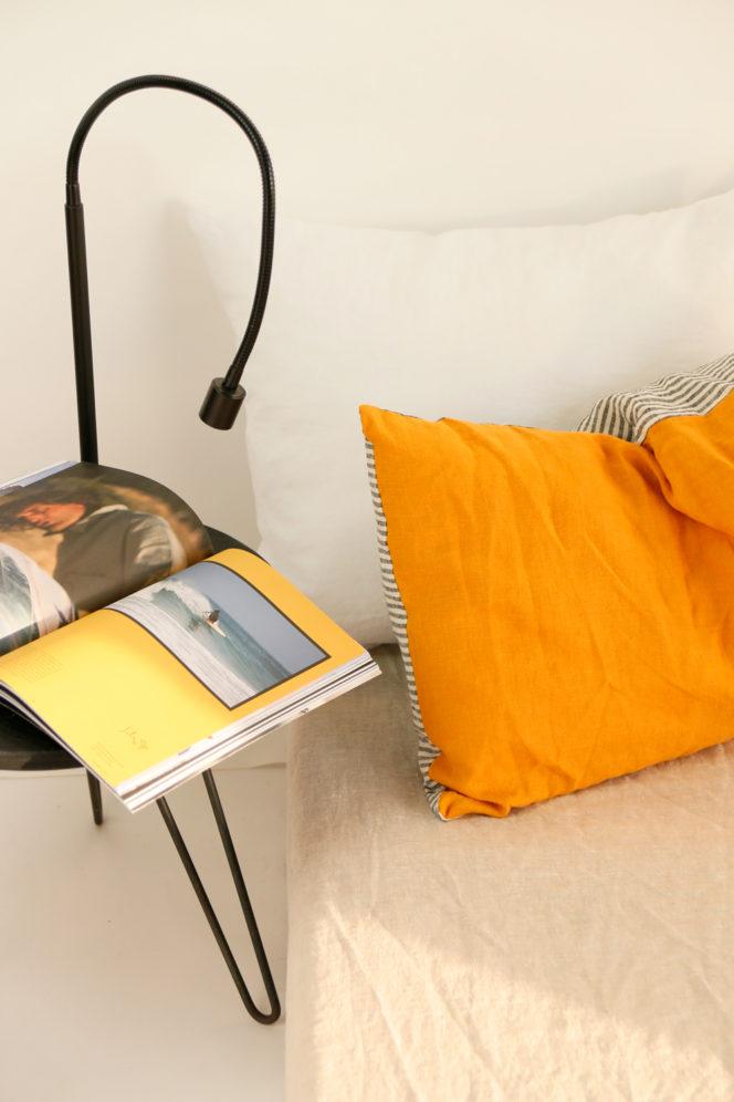 Lniana poszewka na poduszkę musztardowa w paski