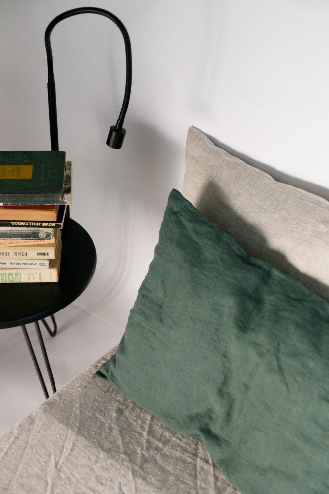 Lniana poszewka na poduszkę dolarowa zieleń
