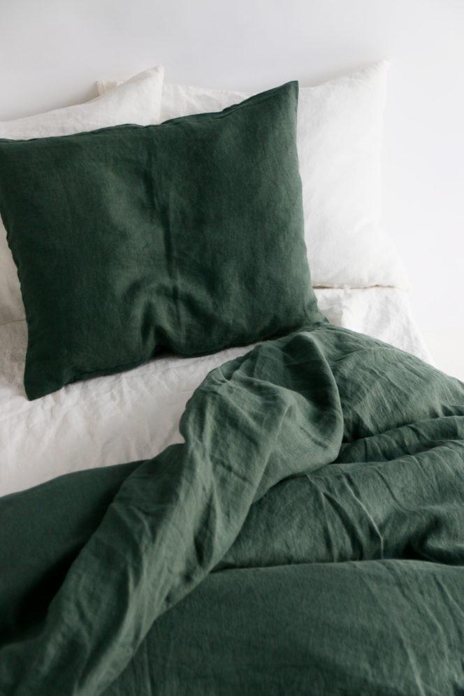 Komplet pościeli z lnu w kolorze zielonym