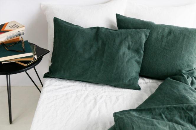 Lniany komplet pościeli w kolorze zielonym
