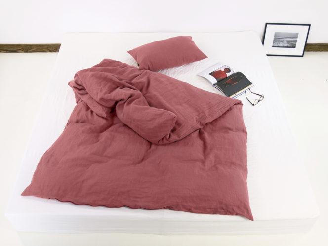 Poduszka na kołdrę z lnu w kolorze dusty pink