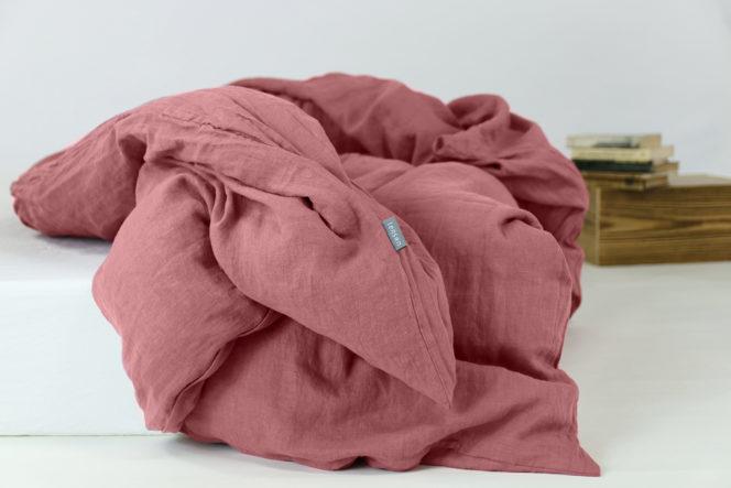Poszewka na kołdrę lniana w kolorze dusty pink