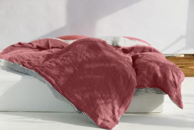 Poszewka na kołdrę w paski lniana w kolorze dusty pink