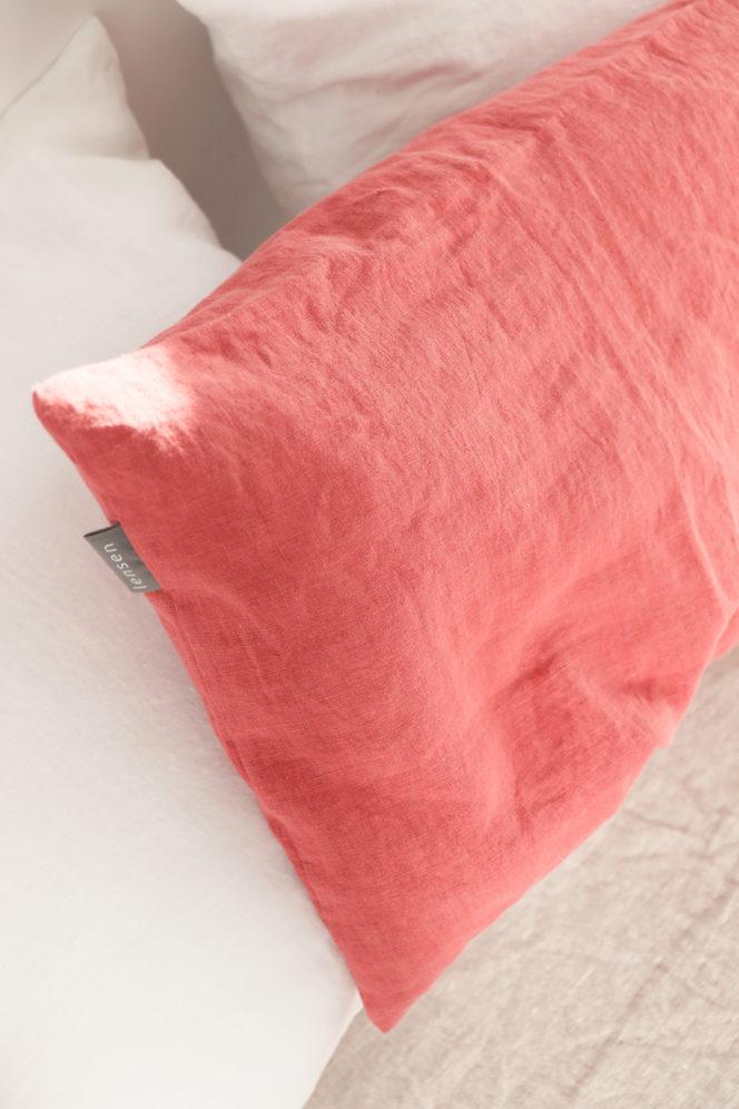 Poszewka na poduszkę lniana w kolorze dusty rose