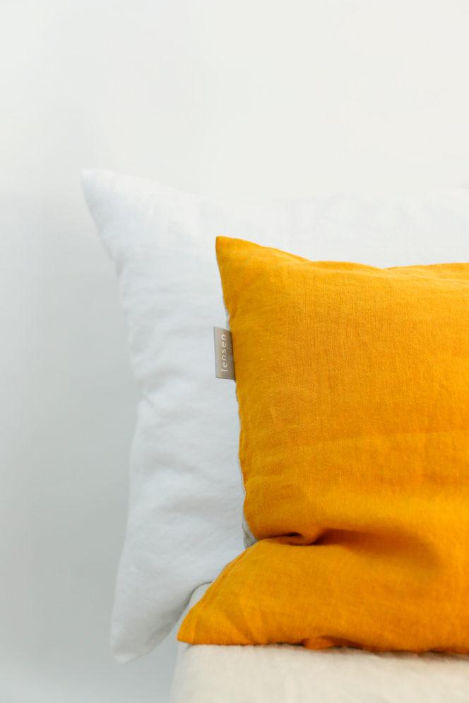 Poszewka na poduszkę musztarda-len