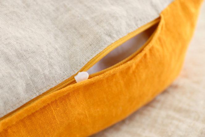 Poszewka na poduszkę musztardowo lniana