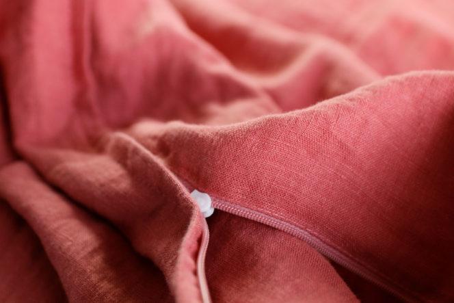 Lniany komplet pościeli w kolorze dusty rose