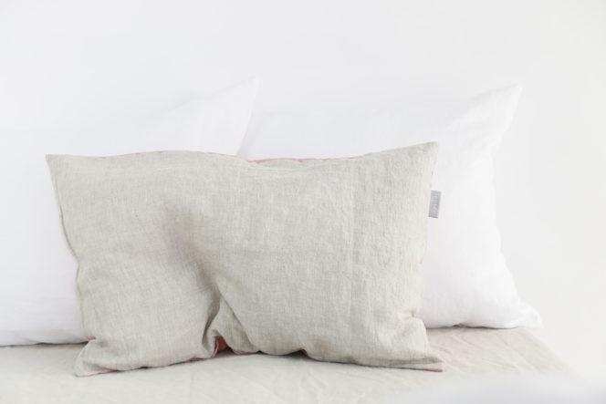 Poszewka na poduszkę lniana jasnoróżowa